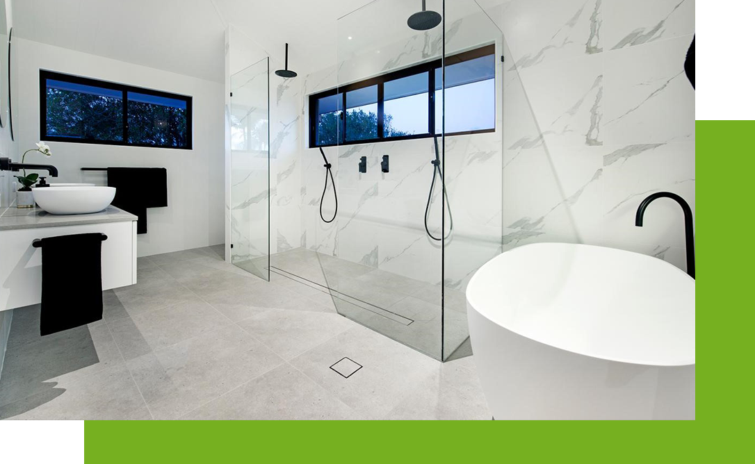 white and gray bathroom tile with touches of black