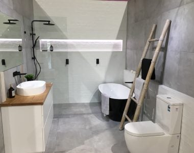 closer look of unfinished bathroom showroom